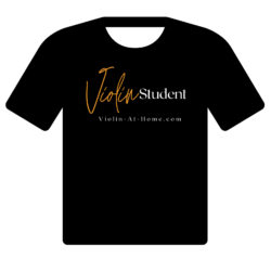 Violin Student T-Shirt for Purchase in Black, with Gold and White Letters